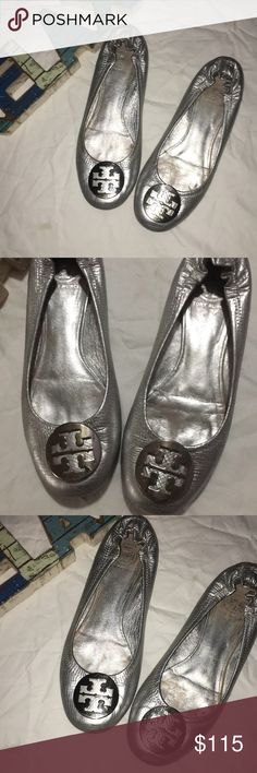ba50bf042f 🏆Silver Leather Tory Burch Reva Flats Size 8 Excellent Used Condition. No  rips or tears. Size 8. Tory Burch Shoes Flats & Loafers