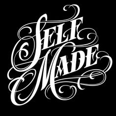 Illustration about Self made - elegant calligraphic lettering in tattoo style with swirls. Illustration of swirls, english, card - 160754846