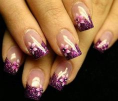 Clear with Sparkling Purple Tips and Purple Flowers
