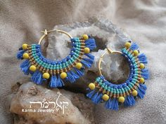 Blue Macrame hoop Earrings AFRICA design Boho style Colorful Tribal ethnic Alternative fashion Spiritual jewelry Gift for woman Macrame Earrings, Macrame Jewelry, Crochet Earrings, Hoop Earrings, Color Turquesa, Micro Macramé, Beads Online, Spiritual Jewelry, Estilo Boho