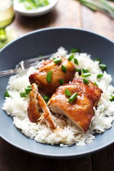 Sticky Bourbon Chicken with Rice - simple ingredients, extremely easy prep, WOWZA good. | pinchofyum.com