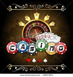 Playing cards with poker chips and roulette wheel. Vector