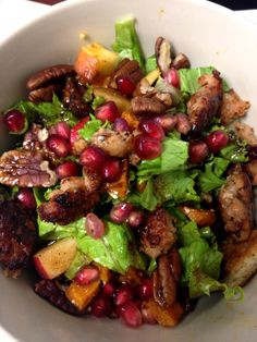 Roasted Butternut Squash with walnuts & pomegranate seeds and the Perfect Winter Salad,  #Yogacentric Hot Yoga & Pilates Studio