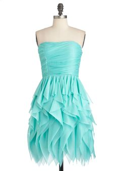 Rocking Robin's Egg Dress - Short, Solid, Ruffles, Prom, Party, Strapless, Spring, Ruching, Blue, Sheath / Shift