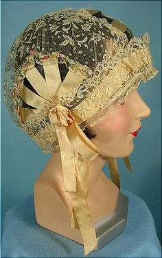 c. 1920's Boudoir Cloche Cap of Lace with Light Yellow Silk Ribbons