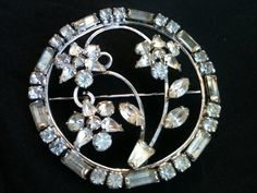 Vintage Brooch Rhinestone Sterling  Silver Signed by themuseinme, $16.99