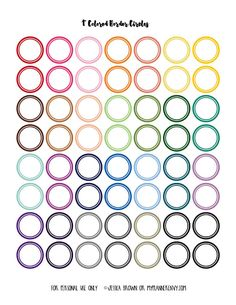 "FREE My Planner Envy: 1"" Colored Border Circles - Free Planner Printable"