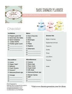 Baby Shower Planning   Baby Shower Planner/Checklist