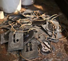 antique zinc tags