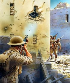🇬🇧 Tunisia, In a village near Tunis a British soldier fires his Tommygun smg on a machine-gun nest while his fellow soldier is preparing to throw a hand grenade to neutralize it. The last Italian-German forces in Africa will surrender in May Military Art, Military History, Army Drawing, Military Drawings, Ww2 History, Military Pictures, Modern Warfare, North Africa, World War Ii