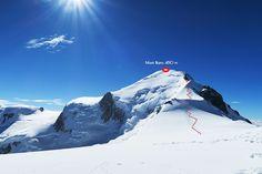 ruta-mont-blanc-de-la-4300-m-din-apropiere-de-refugiul-Vallot Mount Everest, Mountains, Classic, Nature, Travel, Paths, Mont Blanc, Derby, Naturaleza