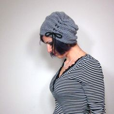 The Victorian Slouch Hat in Grey Womens Crocheted Hat by mairwear