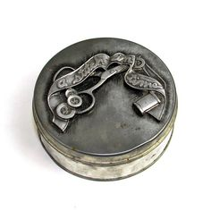 """#Vintage #Retro """"A #Stitch In Time"""" #Sewing #Storage #Tin by Metzke #Pewter Canister - #Crafting #Supply or Trinket Box - #Scissors #Buttons #Thread - Heavy #Patina by OneRustyNail on #Etsy"""