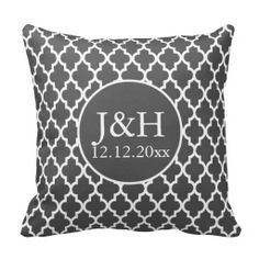 Shop Quatrefoil Monogrammed Wedding Grey and White Throw Pillow created by Ricaso_Wedding. White Throws, White Throw Pillows, Wedding Grey, Gray Weddings, Decorative Pillow Cases, Throw Pillow Cases, Monogram Wedding, Personalized Wedding, Grey Duvet Cover King