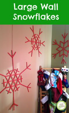 Beautiful wall decoration for the winter! Super easy for little kids too! http://www.greenkidcrafts.com/large-snowflake-wall-art/
