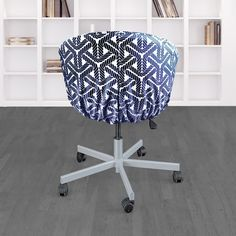 IKEA SKRUVSTA Chair Slip Cover, Coastal Navy Blue Rope Print | affordable, designer, custom, handmade, trendy, fashionable, locally made, high quality Ikea Office Chair, Beautiful Cover, Slipcovers For Chairs, Seat Cushions, Coastal, Navy Blue, Handmade, Design, Bench Seat Cushions