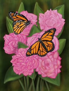Two Butterflies Among Six Peonies Butterflies are used as a Feng Shui love and…