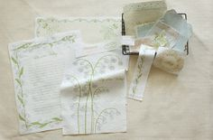Cotton Linen Fabric  Lily of the Valley  16 in 1 Panel  by cloth2u, $8.50