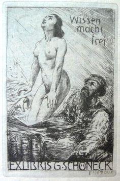Bruno Heroux, Leipzig - erotisches Exlibris für G. Schöneck.