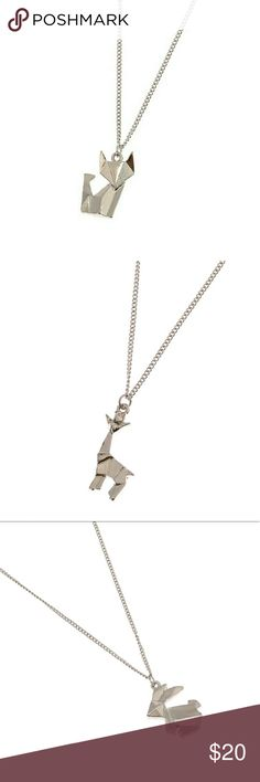 COMING SOON Cute Origami Necklace Adorable little 3D origami animals with flat backs so they lay nicely on the chest.  Silver in color and with three different shapes:   Fox/cat Deer/giraffe Bunny rabbit Jewelry Necklaces