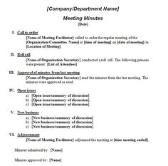 Printable Template Of Meeting Minutes | Formal Meeting Minutes Template  Minute Templates Free