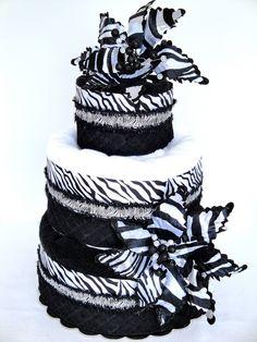 Bridal Shower Towel Cake - Black & White Zebra Theme Bridal Shower Towel Cake Centerpiece - 3 Tier. $90.00, via Etsy.
