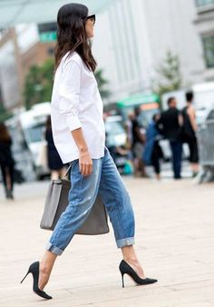 jeans, white button down, classic heels.