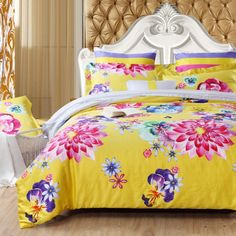 Yellow Pink and Purple Bright Colorful Oriental Flower Garden Vintage Asian Inspired 100% Cotton Damask Full, Queen Size Bedding Sets