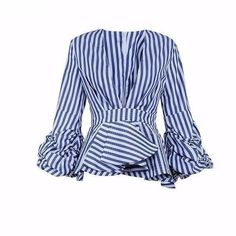Caly & Kaana Dramatic Ruffle Long Sleeve Peplum Top