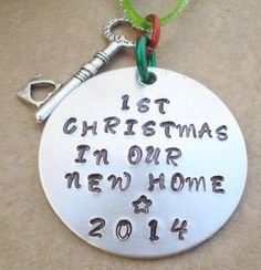 Hand Stamped First Christmas In Our New Home Christmas Ornament - Christmas 2014 - With Heart Skeleton Key - Housewarming Gift - Customized on Etsy, $13.00