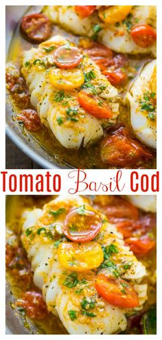 A quick and easy recipe for Pan-Seared Cod in White Wine Tomato Basil Sauce! If you love cod fish recipes, try this flavorful dish for dinner tonight! So good with rice or zoodles! #cod #codrecipes #pansearedcod #seafood #fishrecipes