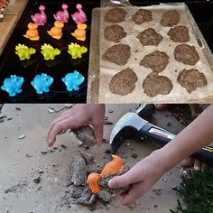 Dinosaur Treasure Stones: flour, coffee grounds, salt, sand & water