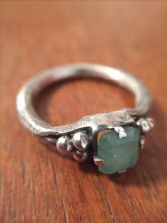 Emerald ring- handmade silver