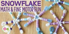 Snowflake Craft for Kids: Beaded Snowflake Math & Fine Motor Activity - Early Learning Ideas Snowflake Craft, Beaded Snowflake, Snowflakes, Winter Art Projects, Winter Project, Holiday Crafts For Kids, Crafts To Make, 1st Grade Crafts, Reindeer Handprint
