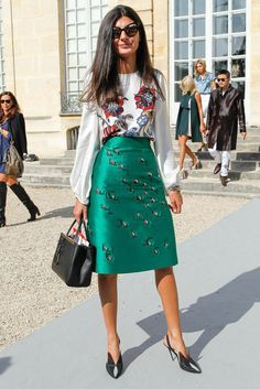 giovanna battaglia, grey sweater, green skirt