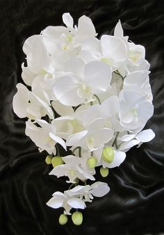Cascading Teardrop White Phalaenopsis Orchid Bridal Bouquet