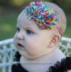 Cover her in cuteness with this rainbow stripes fabric flower elastic headband from Beautiful Bows Boutique. Handcrafted using only the finest materials, this designer infa... #handmade #etsy #bighairbows #overthetop #boutique #babygirl #1stbirthday #babyclothes #hairbows #baby-headbands #vintage-hairband ➡️…