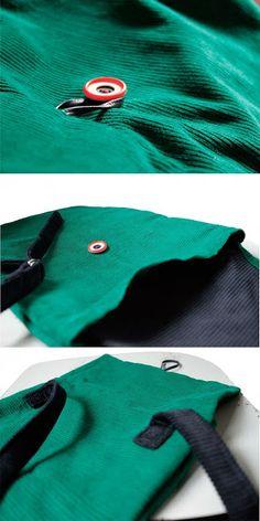 corduroy green-dark blue backpack details