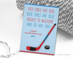 Hockey Valentines Cards Printable Instant Download by MarleyDesign