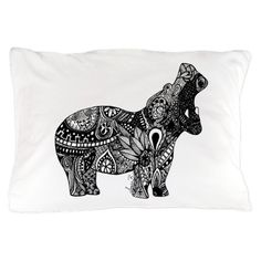 Hippo Zentangle Pillow Case on CafePress.com