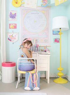 For sweetness! We love this darling photo taken by Lay Baby Lay featuring our latest collection of kids stationery and decor. Isn't this little one just the cutest? Kids Stationery, Diy Crafts For Kids, Retail, Kids Rugs, Chair, Cute, Room, Baby, Collection