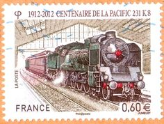 Centanaire de la Pacific 231 K8 (1912-2012). Stamp printed in France 2012.