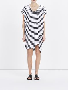 strp boxy t.shirt dress w tail: boxy fit scoop neck t shirt dress in organic cotton jersey with heritage neck line. asymmetric hem. cap sleeves with heritage bind.made in australia.
