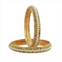 322424 Silver, White and Off White  color family Bangles in Metal Alloy Metal with CZ Diamond, Pearl stone  and Gold Rodium Polish work