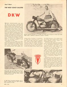1955 German DKW Motorcycle 1-Page Article