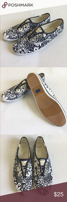 Kate Spade Keds Pair of white-and-blue Kate Spade Keds floral low-top sneakers - never worn kate spade Shoes Flats & Loafers