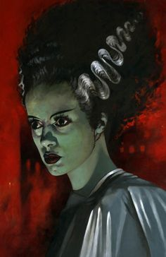 Universal Classic Monsters Art : The Bride Of Frankenstein, by Dean Ormston Arte Horror, Horror Art, Beetlejuice, Vampires, Death Becomes Her, Frankenstein's Monster, Monster Squad, Creepy Monster, The Rocky Horror Picture Show