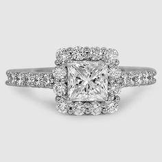 18K White Gold Lotus Flower Diamond Ring // Set with a 1.00 Carat, Princess, Ideal Cut, H Color, VVS2 Clarity Diamond #BrilliantEarth