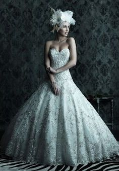 Romantic Dropped Waist Ball Gown Lace Sweetheart Floor Length Wedding Dress - 1300103561B - US$299.99 - BellasDress