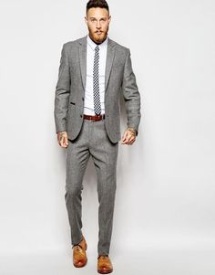 Asos slim fit suit in grey tweed Mens Fashion Summer Outfits, Mens Fashion Week, Mens Fashion Suits, Mens Suits, Jackets Fashion, Men's Fashion, Suits Uk, Fashion Quotes, Gentleman Mode